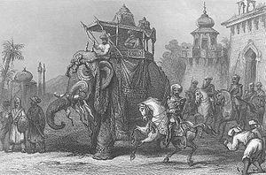 Nana Sahib - Nana Sahib with his escort. Steel engraved print of 1860, published in History of the Indian Mutiny
