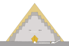 The image forms a triangular shape and can be described from bottom outwards to top. At the bottom a long corridor stretches from the north to the south. The corridor is broken into two sections, a descending corridor first and then a flattened out corridor second. The corridor terminates into a room at around the middle of the pyramid triangle. Over the top of the room are three layers of blocks that lean against each other to form the gable. Extending from this point in both directions are the first six steps – the blocks are laid one on top of the other with each subsequent block being smaller than the last – that forms the basis of the pyramid. Extended further out from side to side and up to the top from there is the second layer of construction. Similarly to the first each block is smaller than the last, but, two additional steps are added – one at the bottom and one at the top. Finally, the true pyramid is shown as two lines that start at a point slightly further out from the second construction step and roughly follow the steps until they merge at the very tip of the pyramid.