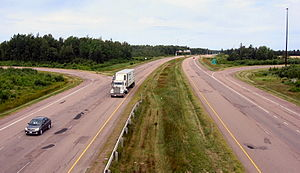 New Brunswick Route 11 - Divided section of Route 11 outside Shediac.