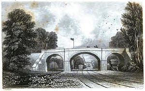 Grand Junction Railway - Newton Road station on the Grand Junction Railway, one of the original stations of the line, in 1839. The station was relocated twice and is now defunct.
