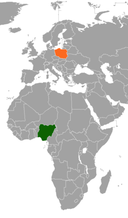 Map indicating locations of Nigeria and Poland