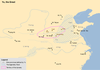 Great Flood (China) - Map showing the legendary flood and the Nine Provinces of ancient China.