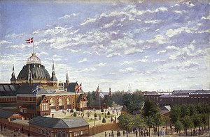 City Hall Square, Copenhagen - Nyrop's domed exhibition building from 1889