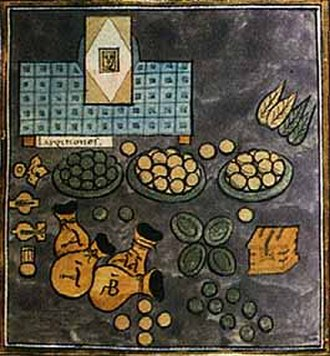 Comes sacrarum largitionum - The insignia of the comes s. largitionum in the Notitia Dignitatum: money bags and pieces of ore signifying his control over mines and mints, and the codicil of his appointment on a stand