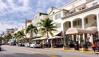 Miami Beach, Florida - The iconic Ocean Drive of Miami Beach with many Art Deco style hotels.