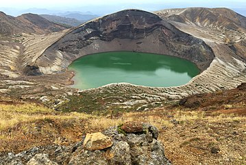 Okama crater lake, Mt. Zao, Tohoku region, Japan (north facing view).jpg