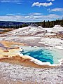Old Faithful Geyser Basin, Yellowstone 9-11 (14748293821).jpg