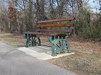 Collierville, Tennessee - An old wagon trail bench, which are commonly seen throughout Collierville