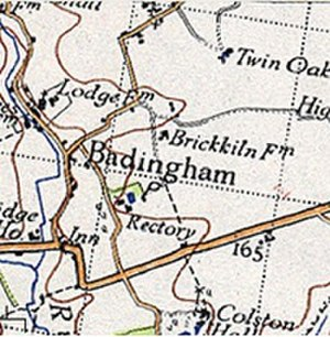 Badingham - 20th Century map of Badingham as shown by the Ordnance Survey map. Located within in the county of Suffolk. East England