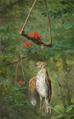 Oluf August Hermansen - Nature morte med fugl i bærfælde.png