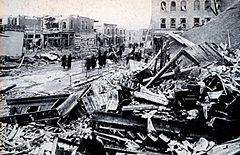Photograph of tornado damage in Omaha