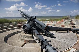 Atlantic Wall open-air museum - Image: Openluchtmuseum Atlantikwall kanon 12 cm K 370 23 07 2010 16 04 07
