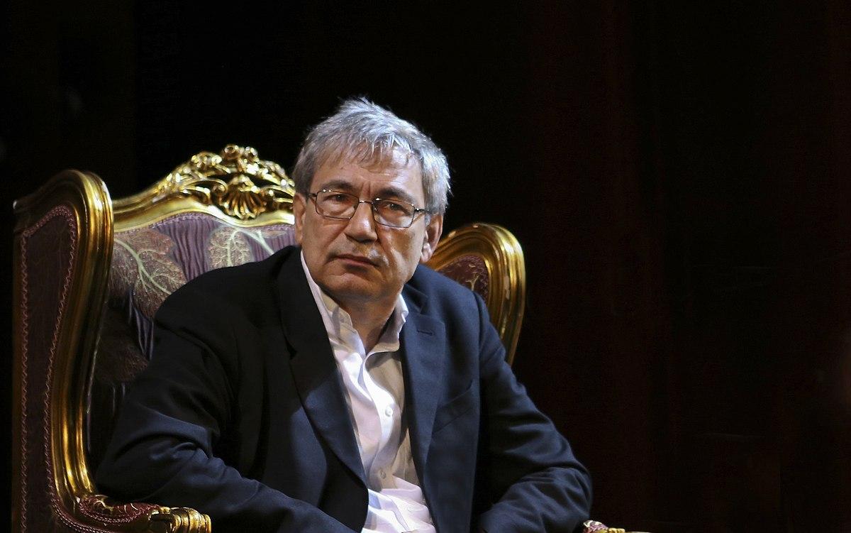 Orhan Pamuk in Rustaveli Theatre, Tbilisi, Georgia, 2014.jpg