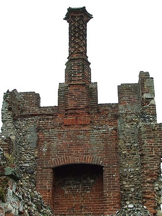 Framlingham Castle - Tudor brickwork in the Inner Court, including a carved brick chimney