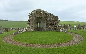 Orphir Round Church - The gravel shows the outline of the circular nave