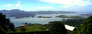 Otago Harbour (Lower Harbour), Port Chalmers, Quarantine Island, Goat Island und Portobello