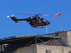 Dunedin Public Hospital - The Otago Regional Rescue Helicopter taking off from the hospital helipad