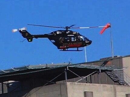 Otago Rescue Helicopter takeoff Dunedin Public Hospital