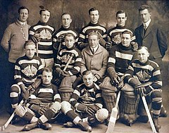 Thirteen men are assembled in three rows, two sitting on the floor in front, five sitting and six standing in back. Ten are hockey players in their uniforms with their hockey sticks and three are members of the team staff in suits.