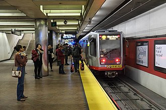 Powell Street station - An outbound Muni Metro train at Powell station in 2017