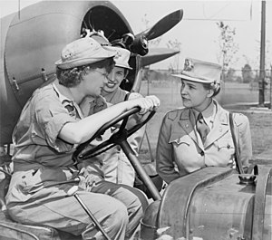Col. (right) talks with Auxiliary Margaret Pet...