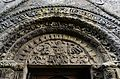 PATRIXBOURNE ST MARY'S CHURCH The top of the arch that frames the Norman south doorway.JPG