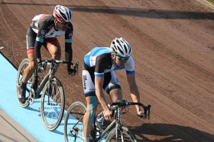 Fabian Cancellara (left) and Sep Vanmarcke (right)  in the Roubaix Velodrome during the final meters of the race.