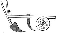 Drawing of simple, two-wheeled plow