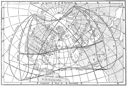 PSM V57 D025 Begin and end time ranges of the may 29 1900 north american eclipse.png