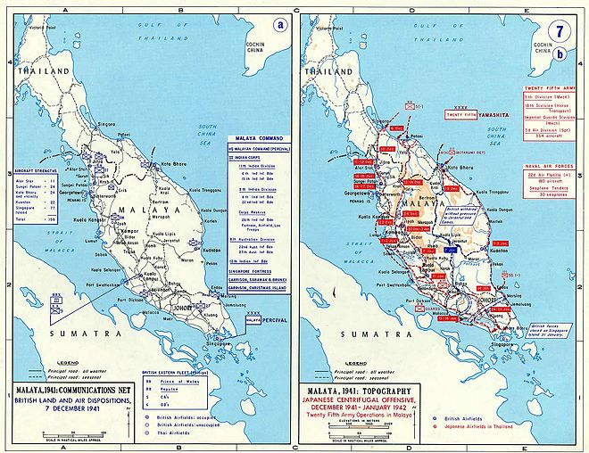 Map of the Malayan campaign