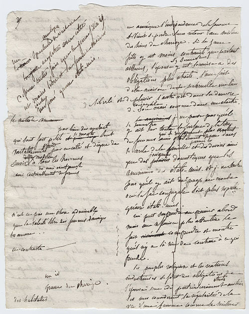 A page from original working manuscript of Democracy in America, c. 1840