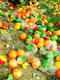 Many used or smashed paintballs on the floor.