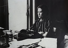 Pamela Hansford Johnson at her typewriter in the 1930s or 1940s
