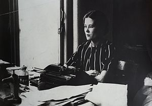 Pamela Hansford Johnson - Pamela Hansford Johnson at her typewriter in the 1930s or 1940s