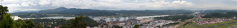 Panama canal panoramic view from the top of Ancon hill.jpg