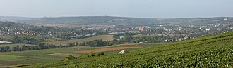 Communes of the Aisne department - Panorama of the Marne valley with view of the city of Château-Thierry.
