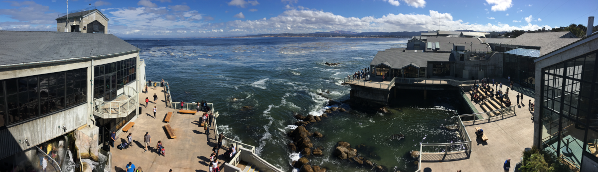 Panoramic view of the aquarium's 20,000 square feet of public decks overlooking Monterey Bay. The building's walls on either side consist mostly of windows, but there is stadium seating to the right overlooking a man-made tide pool