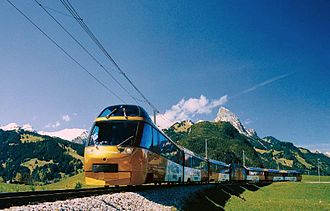 GoldenPass Line - The Golden Pass Panoramic Express near Gstaad (with seating on the front)