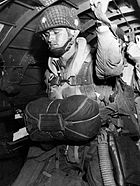 Paratrooper about to jump into combat on 1944-6-6