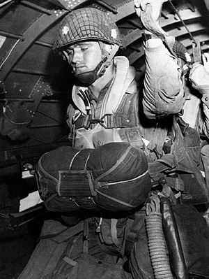 Paratrooper about to jump into combat on D-Day...