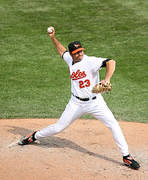 Paul Shuey - Shuey pitching for the Orioles