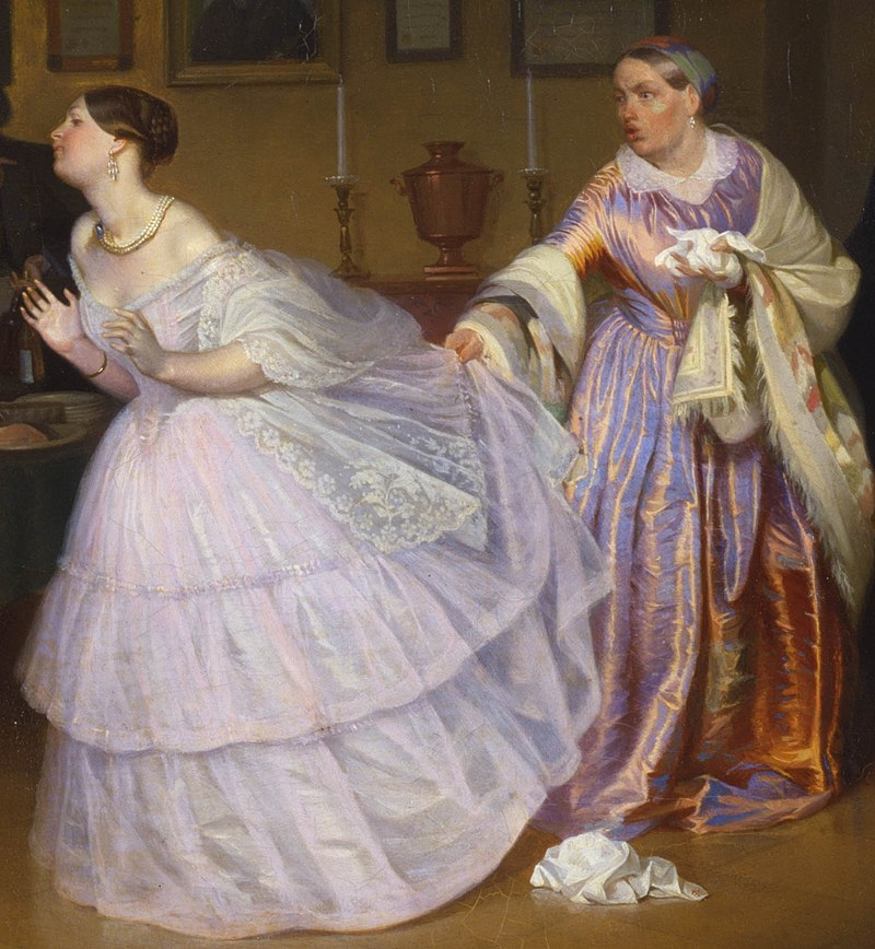 Pavel Fedotov - The Major Makes a Proposal (Inspecting a Bride in a Merchant's House) - Google Art Project detail3.jpg