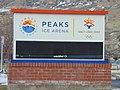 Peaks Ice Arena road sign, Feb 17.jpg