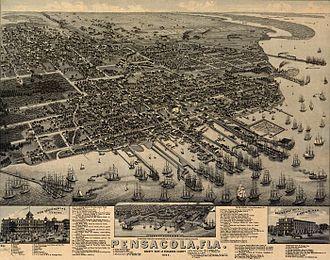 Pensacola Bay - Pensacola and Pensacola Bay, 1885 lithograph.