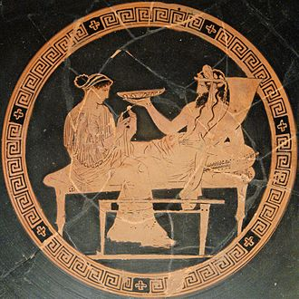 Hades - Persephone and Hades: tondo of an Attic red-figured kylix, ca. 440–430 BC