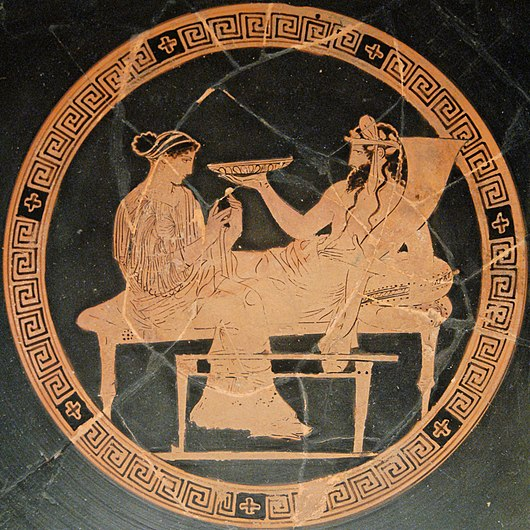 Persephone and Hades: tondo of an Attic red-figured kylix, ca. 440-430 BC Persephone Hades BM Vase E82.jpg