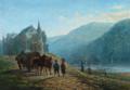 Peter Kornbeck - Italiensk flodparti med hestevogn og folkeliv ved kirke.png