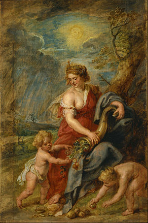 Cornucopia - Allegorical depiction of the Roman goddess Abundantia with a cornucopia, by Rubens (ca. 1630)