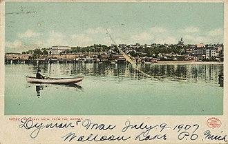 Petoskey, Michigan - Petoskey viewed from the harbor, circa 1900s