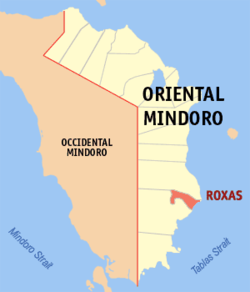 Map of Oriental Mindoro with location of Roxas